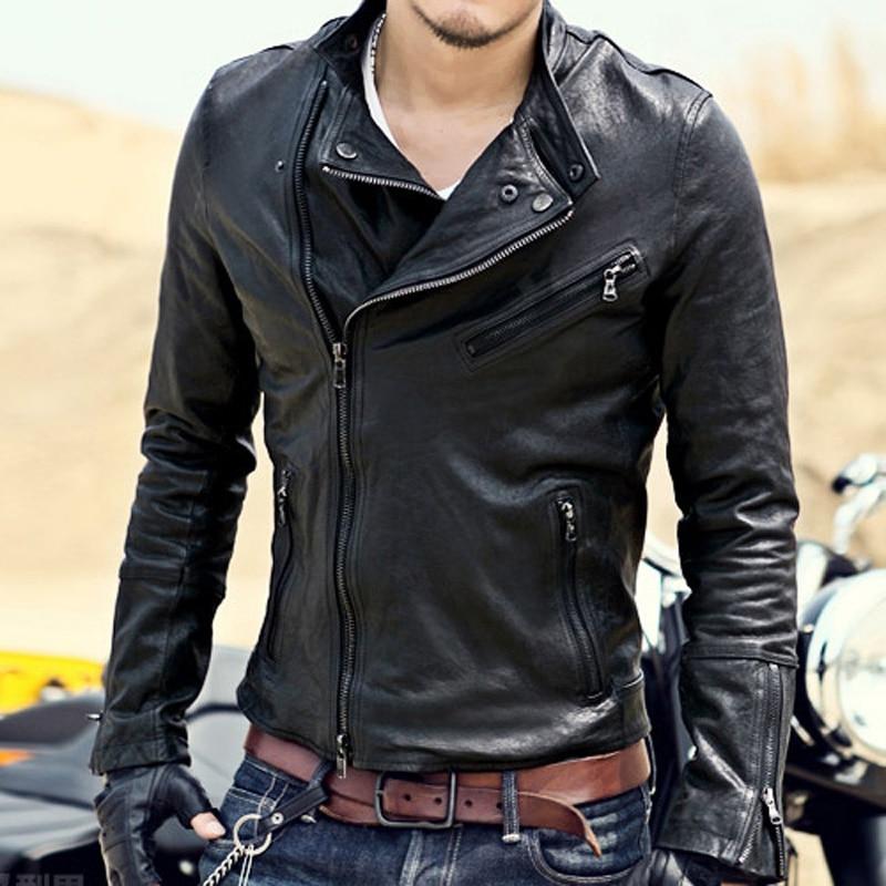 Brand Men Leather Jacket Pilot Casual Sheepskin Genuine Leather Coat Male Short Design Men Autumn Leather Jacket Black Coat L55