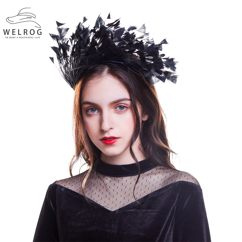 WELROG New Feather Hairband Fascinators on Headband For Women Hair Solid Ribbon Hair Band Hoop Swan Masquerade Cocktail   Headwear