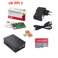 REINO UNIDO Raspberry Pi 3 Kit + 16G SD Card + Caso ABS + Interruptor 2.5A Power Adapter + USB + Cabo de Cobre de Alumínio do Dissipador de Calor para Pi3