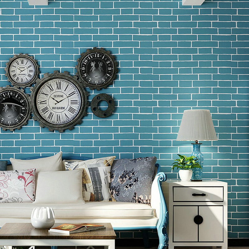 Mediterranean style brick wall paper 3d living room for Brick mural wallpaper