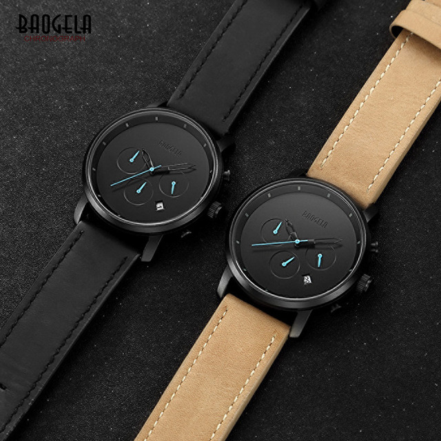 Baogela Men's Fashion Watch Casual Black Leather Strap Children Sports Quartz Wrist Watches Hot Sale Waterproof Watches Relogio