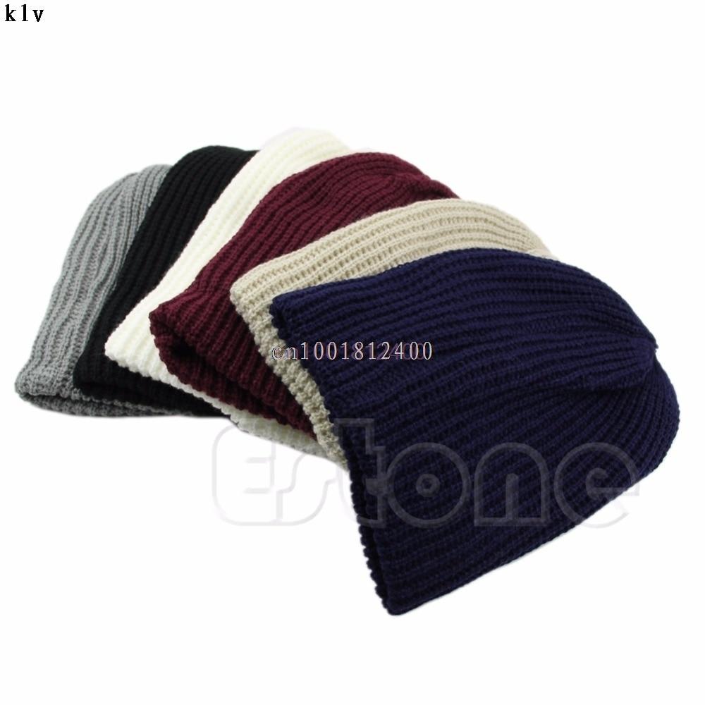 1PC Hat Chic Men Women Warm Winter Knit Beanie Skull Slouchy Oversize Cap Hat Unisex knit men s women s baggy beanie oversize winter warm hat slouchy chic crochet knitted cap skull