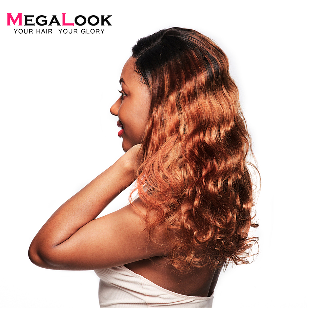 Megalook Lace Front Closure Wig 210% Density 1B/30 Human Hair Wig With Baby Hair Body Wave Remy Human Hair Wig 12-34 Inch