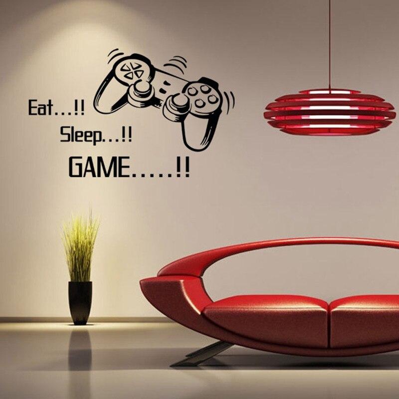eat sleep juego de cartas de juego controlador de pegatinas de vinilo de pared para nios dormitorio decoracin para el hogar ve