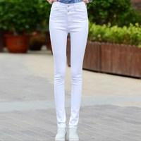 Новинка 2019, черные, синие, белые джинсы с высокой талией для женщин, корейский стиль, женские узкие брюки, женские джинсы стрейч, женские обтя