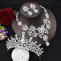 Conjunto De joias de Noiva Gota de Lagrima Cristal Strass Luxuoso Declaracao Bib Colar casamento Tiara