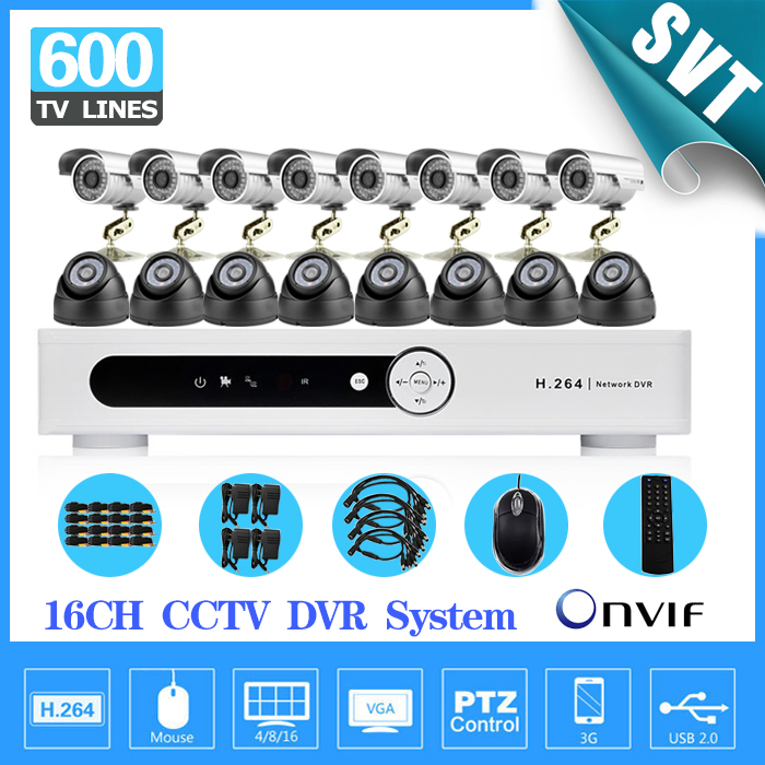 16Channel outdoor indoor video Surveillance CCTV Camera Kit 16CH H.264 DVR Recorder security System camera kit SK-214 free shipping h 264 ahd cctv dvr 16 channel security camera system stand alone hdmi d1 video surveillance digital video recorder