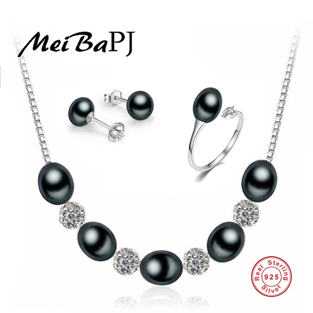 [MeiBaPJ]2017 New 8-9mm AAAA Black Pearl Jewelry Set Real Solid Sterling Silver Wedding Party Jewelry For Women Gift Box