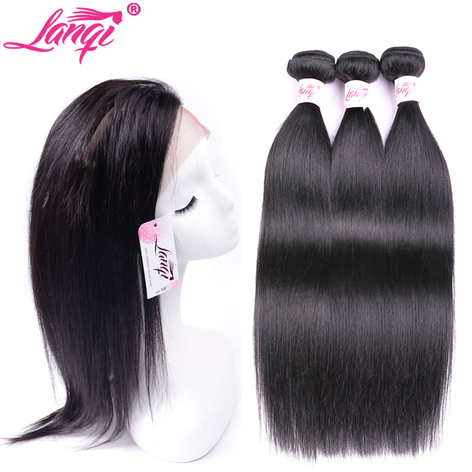 LanQi Brazilian 360 Lace Frontal Closure With Bundles Non Remy Straight Human Hair Weave With Lace Frontal Closure Pre Plucked