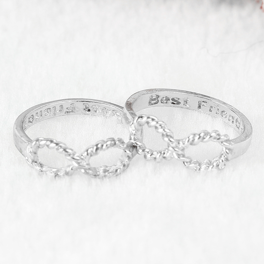 2 pcs Best Friends Letter Friendship Lucky 8 Shape Ring Wish Jewelry for Women Birthday Gift Fashion Jewelry Accessories image