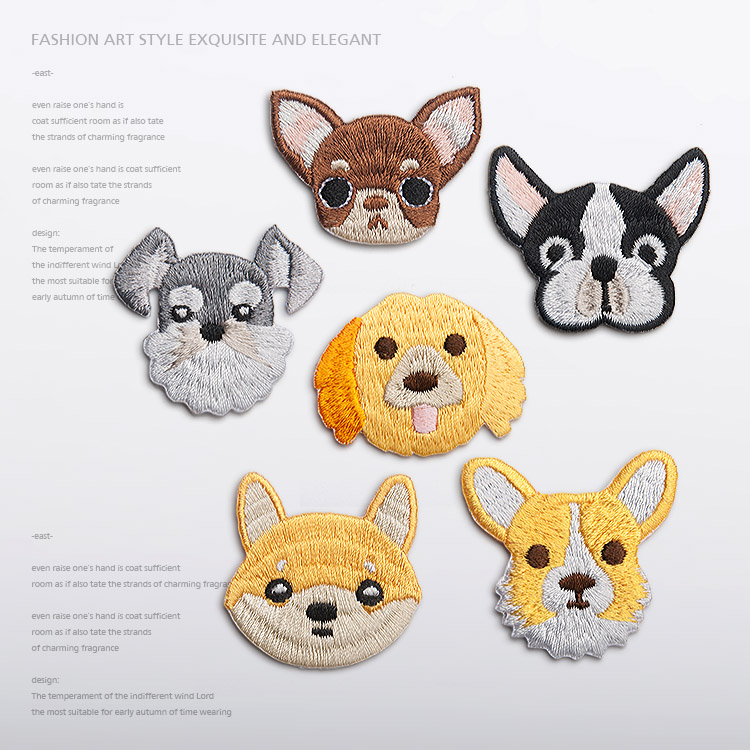Sale ! 6pcs Small Cute cartoon Dog shape Iron On Embroidered Patch Embroidery Patches Applique Garment Clothes DIY Accessory