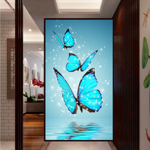 Megayouput New diy diamond painting cross stitch kit  embroidery Blue butterfly picture mosaic pattern wall sticker gift