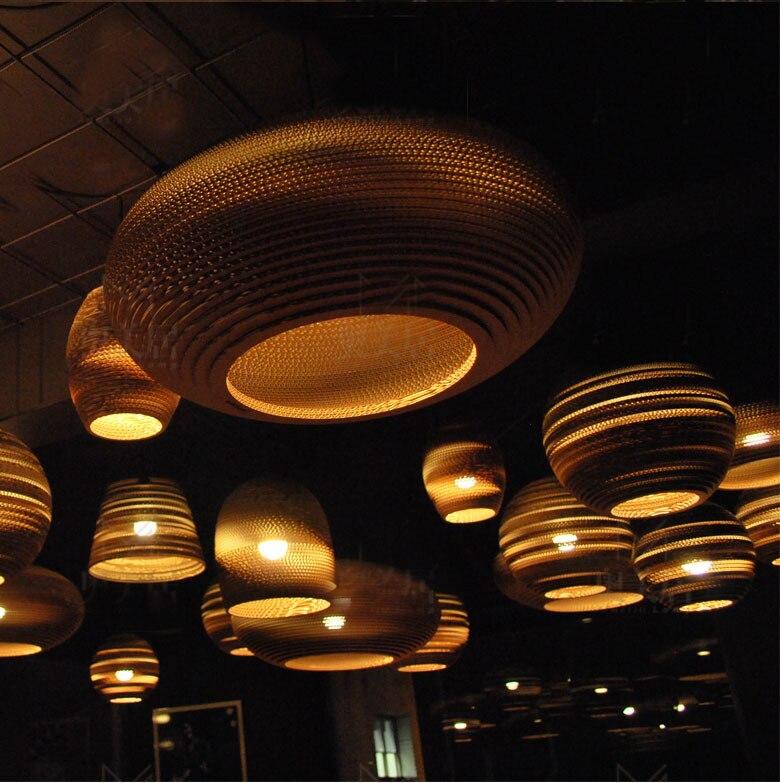 Creative Vintage loft Rural papier nid d'abeille pendentif lumières abat jour papier lanternes pour Bar café décoration lampe 110 240V - 2