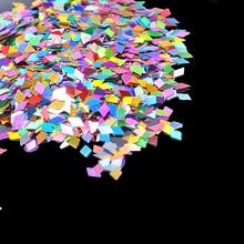 1Box 10ML Holo Nail Art Decoration Rhombus Acrylic Glitter Diamond Shape Sequin Powder 3D Slice Spangles DIY Tools