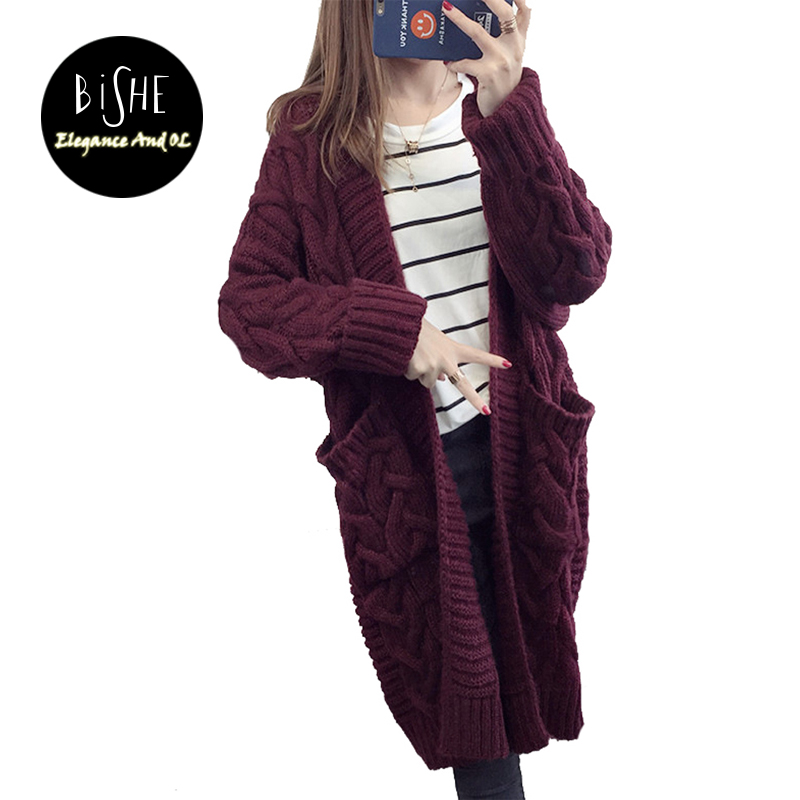BiSHE Long Cardigan Female 2017 Autumn Long Sleeve Plus Size Solid Cardigan Women Sweater Pockets Women <font><b>Knitted</b></font> Jacket Tops