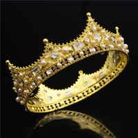 Barock Königin König Tiara Krone für Braut Hochzeit Haar Schmuck Kristall Diadem Prom Kopfstück Big Gold Diademe und Kronen Braut