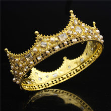 Baroque Queen King Tiara Crown สำหรับเจ้าสาวงานแต่งงานเครื่องประดับผมคริสตัลมงกุฎ Headpiece พรหมใหญ่ทอง Tiaras และ Crowns เจ้าสาว