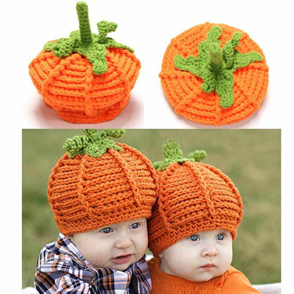 ... New Style Cute Newborn Baby Cartoon Pumpkin Cap Knit Hat Halloween  Costume Photography Prop Kids Girl ... fb0aa884d366