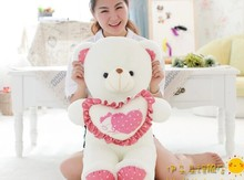 big lovely pink spots teddy bear doll hold pink heart bear doll plush toy birthday gift about 100cm