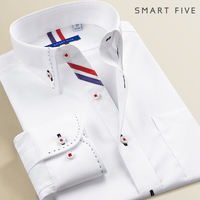 New Arrived 2017 Mens Work Shirts Brand Long Sleeve Striped Twill Men Dress Shirts White Male