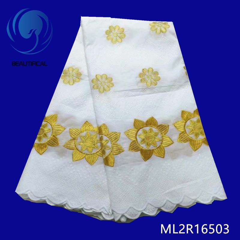 Beaux tissus en coton dernier style tissus en dentelle de voile blanc avec broderie en or 5 mètres dentelle suisse nigériane ML2R165