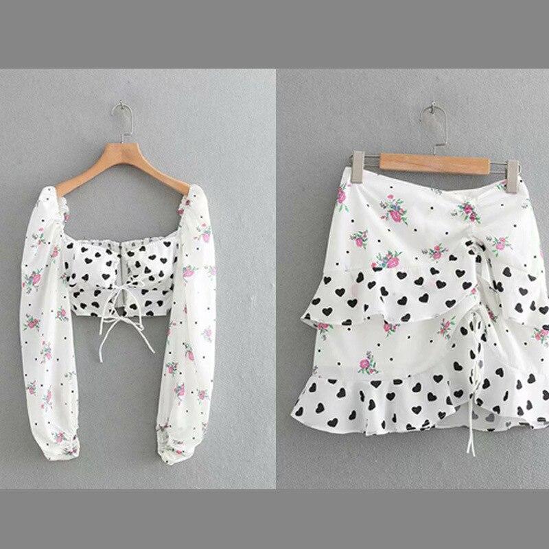 2019 nouveau mode coeur imprimé Floral court T-shirt haut court Sexy femmes volants ourlet Mini jupe courte à manches longues hauts 2 pièces ensemble