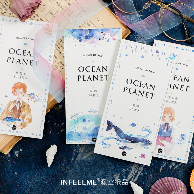 цена на Ocean Planet Daily Planner Memo Pad Sticky Notes Escolar Papelaria School Supply Bookmark Label