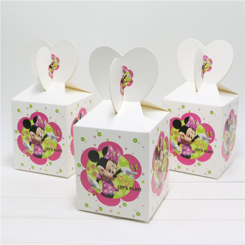6pcslot Candy Box Cartoon Minnie Mouse Theme Candy Box Gift Box Happy Birthday Party Festival Decoration Supplies for kids