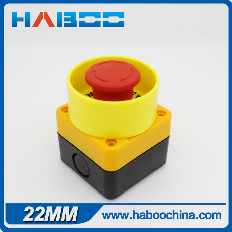 1PCS PACKING HABOO dia.22mm Emergency stop switch 1NC with label & protection cover