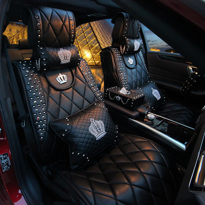 Auto AccessoriesCar Pillow Headrest Cushion Crown Rhinestone Ornament Car Decoration Fashion Girl Female For Mercedes Ford