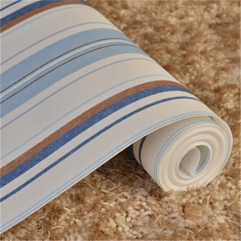 beibehang Modern Blue Striped Wallpaper Roll Vertical Kids Child For Wall paper for Living room Bedroom 3D papel mural delight blue and white vertical striped wallpaper for kids room blue natural material wallpapers for walls 3 d wallpaper girls