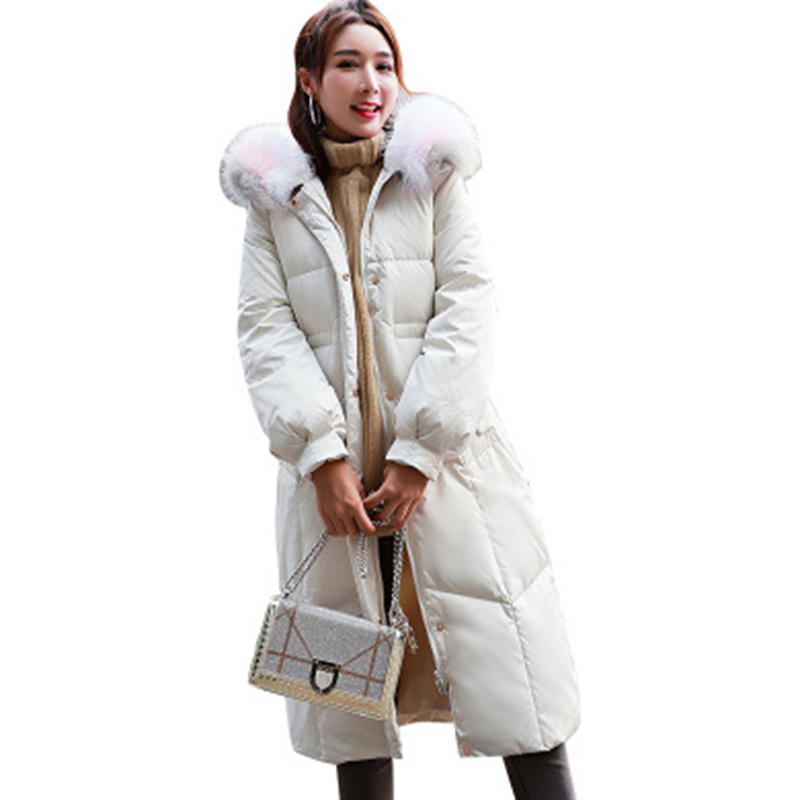 Female Casual Hooded   Down   Jackets Fashion Big Fur Collar Thick Long Warm   Down     Coats   Winter Women White Duck   Down   Jackets FP1649