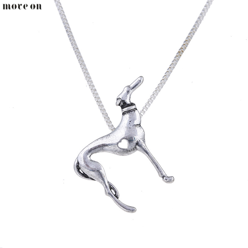10pcs Statement Greyhound Necklace Heart Pendant Whippet Dog Jewelry Women Pendant Necklaces Choker Halloween Gift