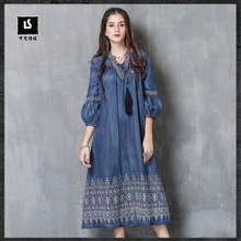 2017 Fall Fashion Dress In Cowboy Embroidered Retro Lantern Sleeve Female Vestidos Mujer Boho Style Long Women Denim Dresses