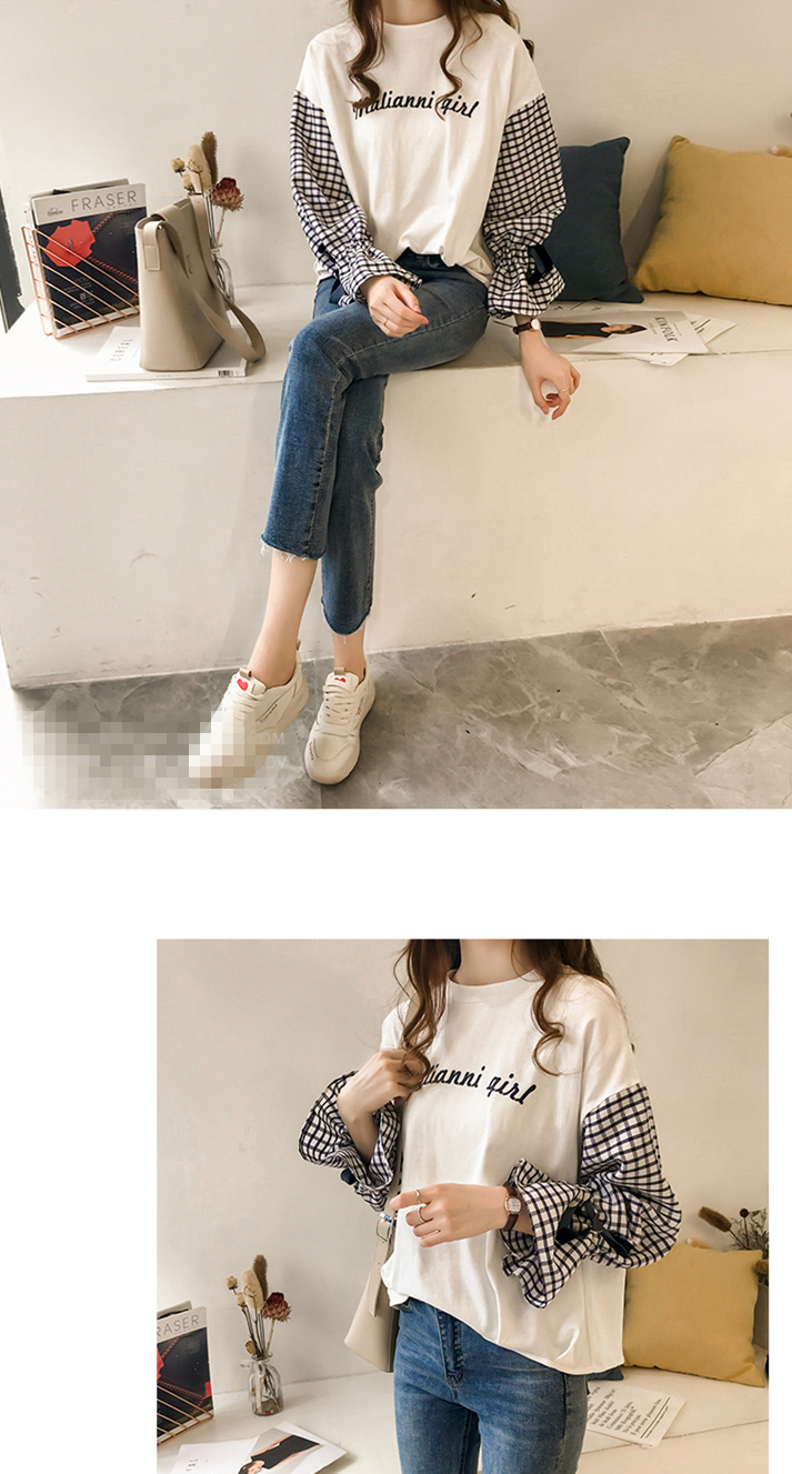 M-4xl Plus Size Cotton Casual T-shirts Women Plaid Patchwork Flare Sleeve O-neck Tshirts Harajuku Fake Two Piece Loose Tees Tops 15