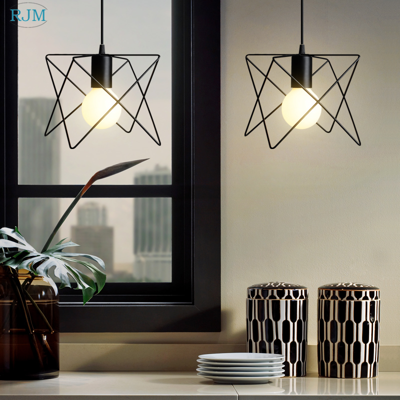 Nordic Creative Retro Iron Pendant Lights Vintage Personality Hang Lamps for Bar Aisle Balcony Clothing Store Coffee Lighting