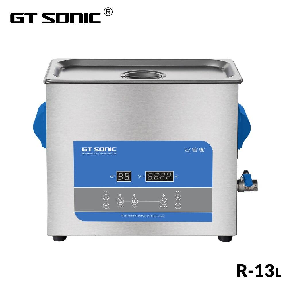 GTSONIC R13 Ultrasonic Cleaner 13L 300W with Digital Display Heating Degas Basket Ultrasonic Bath