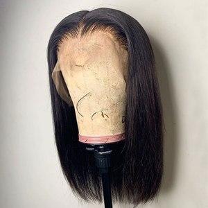 Image 4 - Накладные волосы на голову, невидимые, 13х6, кружевные, фронтальные, короткие, тупые, прямые, индийские, Remy, предварительно выщипывающиеся, отбеленные