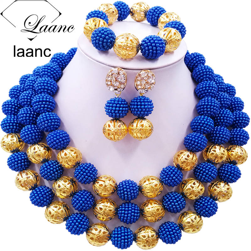 Laanc Royal Blue Simulated Pearl Beads African Jewelry Set Nigerian Wedding Necklace Jewelry Sets 3CZJ008Laanc Royal Blue Simulated Pearl Beads African Jewelry Set Nigerian Wedding Necklace Jewelry Sets 3CZJ008