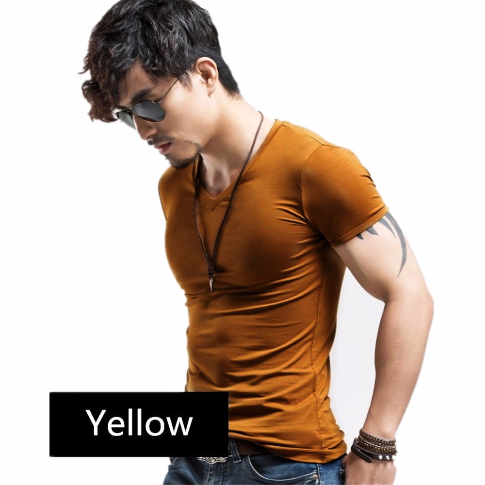 Fitness Casual Mens V neck Man T-shirt For Male T Shirts 41