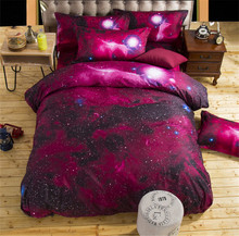 2018 New 3D Nebula Space Star Galaxy Bedding Set Duvet Cover Flat Sheet Pillowcase Queen Twin Size Bed drop shipping