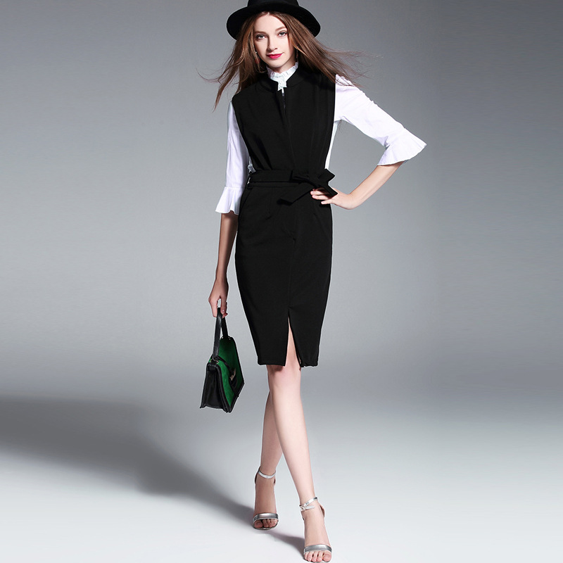 f78bd68843e 2017 New Spring Women Dresses Vintage Fashion Business Attire Dress Elegant  Casual Two Pieces Dresses Female Vestidos-in Women s Sets from Women s  Clothing ...