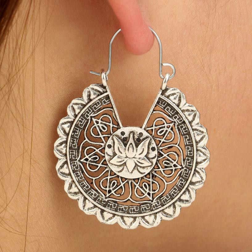 Susenstone 2019 Women Boho Lotus Earrings Jewelry Ethnic Drop Earrings Enamel Vintage Earrings high quality