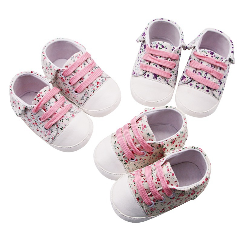 Patch Canvas Baby Girl Breathable Floral Print Anti-Slip Canvas Shoes Casual Sneakers Walking Shoe Soft Soled First Walkers