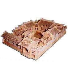 Uşaqlar üçün Uşaq Oyuncağı Həm də Yetkin 3D Taxta Puzzle Pekin Həyət Evləri Yaxşı Ailə Hədiyyəsi kimi Keyfiyyətli Diy Montessori Oyuncağı