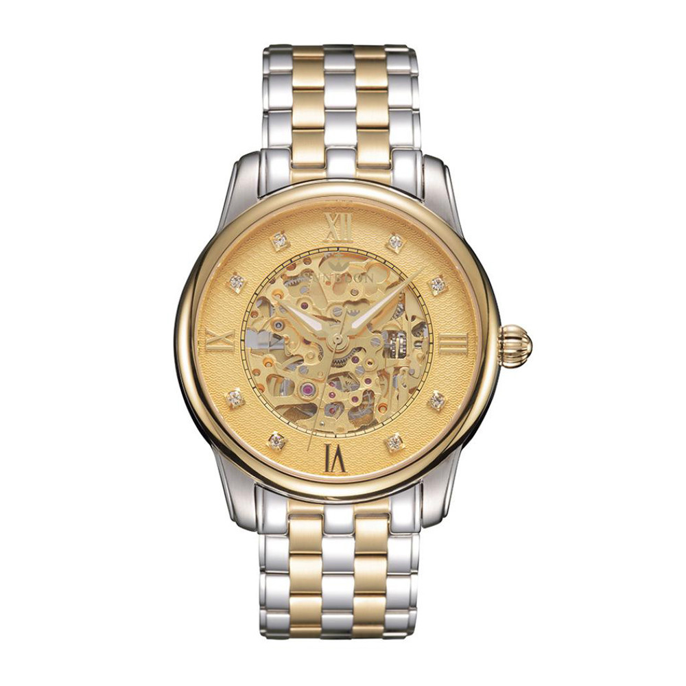 Men's Stainless Steel Mechanical Hollow out all Watch Gold Movement men watch gift clock Table de manipulation dignity 8.17 aimecor 2018 new men s stainless steel mechanical hollow out all luxury watch gold movement fashion men watch gift clock table