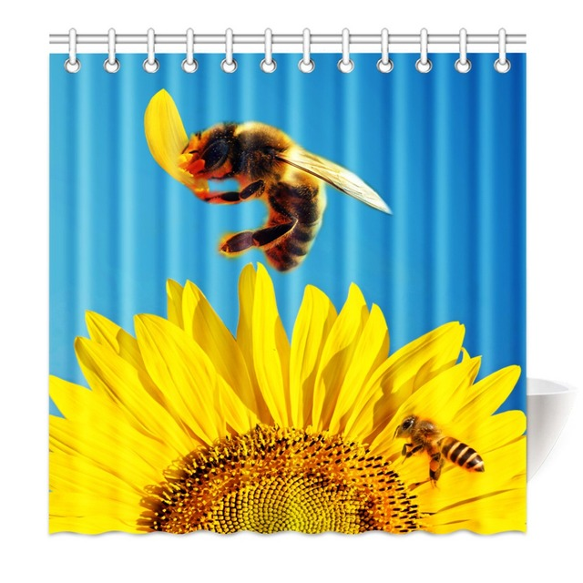 Shower Curtain Funny Beautiful Yellow Sunflower Bee Sun Printing Waterproof Mildewproof Polyester Fabric Bath Set