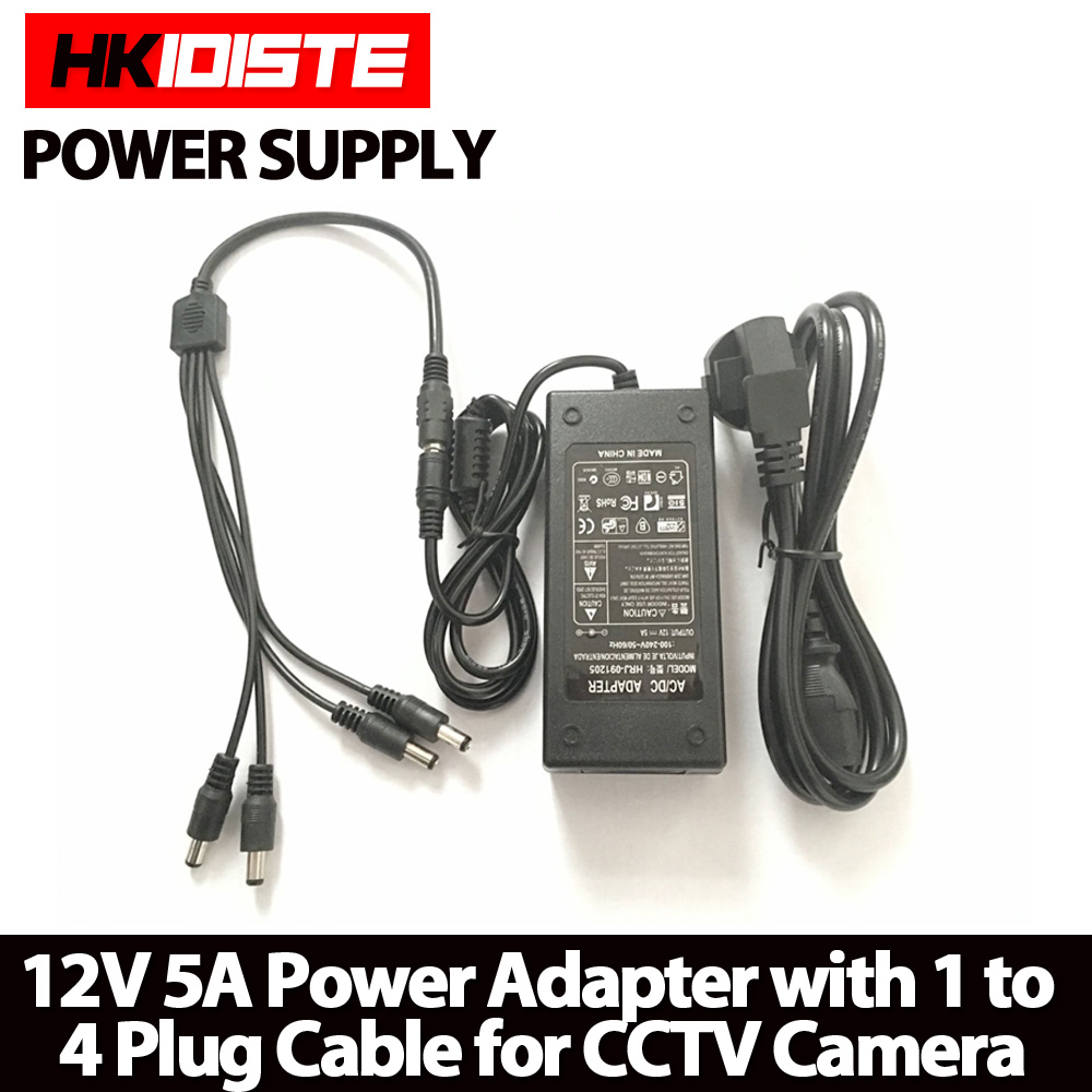 HKIXDISTE 12V 5A 4 Port CCTV Camera AC Adapter Power Supply Box For The CCTV Camera