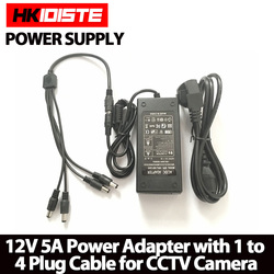 HKIXDISTE 12V 5A 4 Port CCTV Camera AC Adapter Power Supply Box For The CCTV Camera