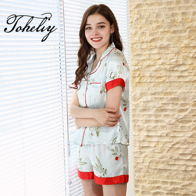 b74fff2b11 Women Pajama Sets Fashion Printed Sexy Lingerie Pajamas Lace Flower  Sleepwear Top Shirt Short Underwear Nightwear